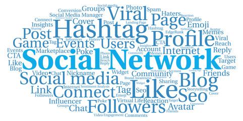 Words cloud Social Network concept, cloud shape.
