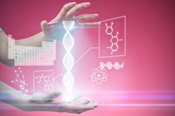 Composite image of hands gesturing against pink background