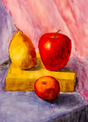 painting still life. Pear and apples on the table.