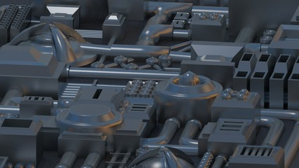 Metal mechanical electronic details texture, 3D render