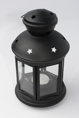 Black Metal Candle Lantern on White Background Perspective View