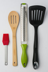 Brush Spoon Spatula Zester on White Background Top View