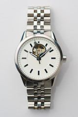 Classic Metal Watch on White Background Top View