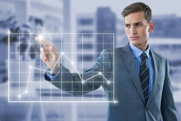 Composite image of well dressed young businessman touching