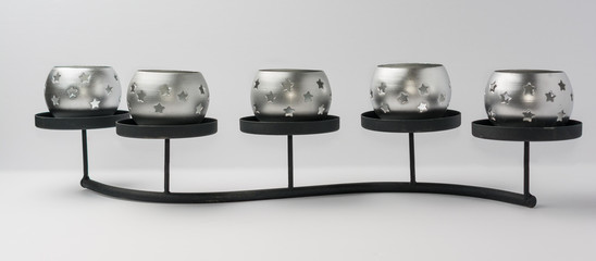 Tealight Candles with Stars on Metal Stand Front View