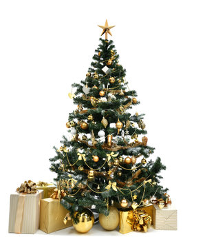 Christmas tree with golder patchwork ornament artificial star hearts presents for new year 2018
