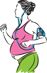 fitness pregnant woman listening music vector illustration