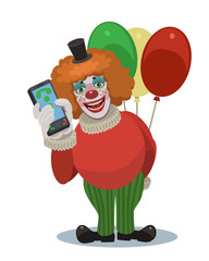 A clown laughs with the phone and balloons/ Clown with balloons laughing, he calls you on your mobile phone, it is happy holidays your children, friends, relatives and loved ones!