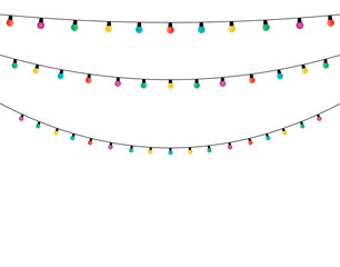 Christmas lights   on white background