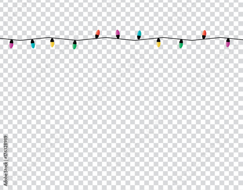Christmas Lights Transparent Background.Christmas Lights On Transparency Background Stock Image And