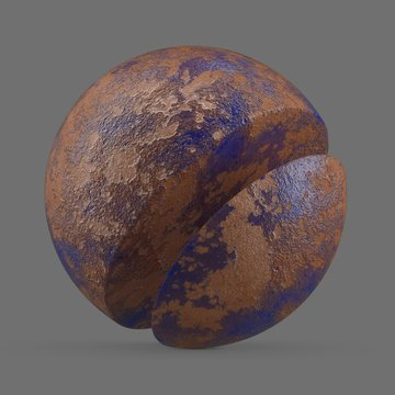 Blue rusted and painted metal