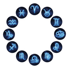 Zodiac signs buttons. Horoscope circle. Set of horoscope symbols, astrology icons collection.