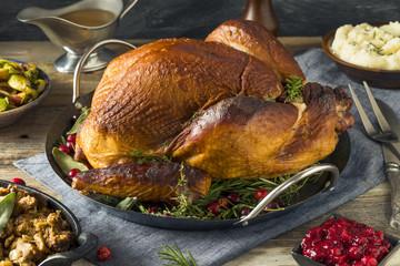 Organic Homemade Smoked Turkey Dinner for Thanksgiving