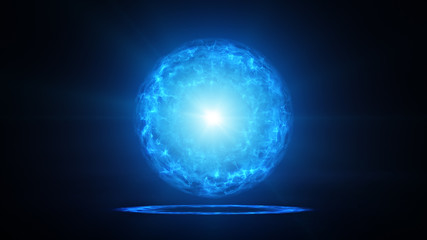 Blue plasma ball with energy charges in studio