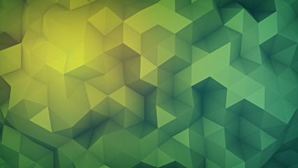 Green low poly shape randomly distorsed abstract 3D render