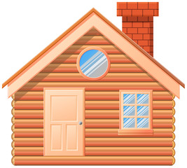 Wooden cabin with chimney vector image