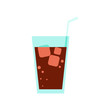 Glass of Cola Drink Simple Flat Illustration