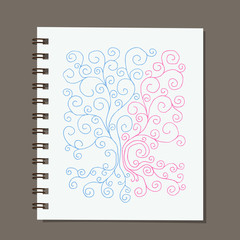 Notebook design, abstract family tree with roots