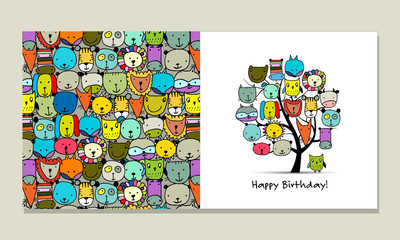 Greeting card design, funny animals tree