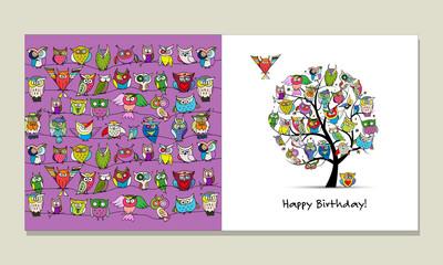 Fotobehang - Greeting card design, funny owls tree