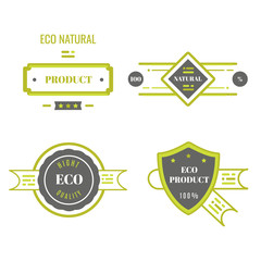 Eco icons, labels set. Organic tags. Natural product elements. Logo for vegetarian restaurant menu. Raster illustration. Low fat stamp. Natural eco product. Eco product.