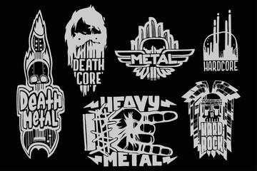 Heavy rock music badge vector vintage labels with punk skull symbols hard sound sticker print emblem illustration