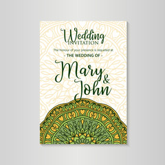 Vintage template design layout for Wedding invitation. Wedding invitation, thank you card, save the date cards