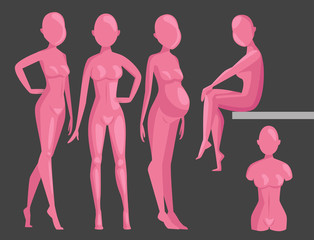 Vector dummy mannequin model poses male and female beautiful attractive sculpture plastic figure silhouette.