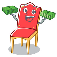 With money chair character cartoon vector illustration