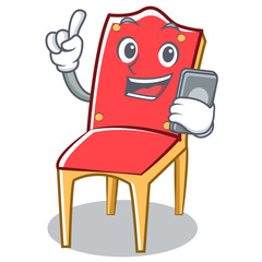 With phone chair character cartoon vector illustration