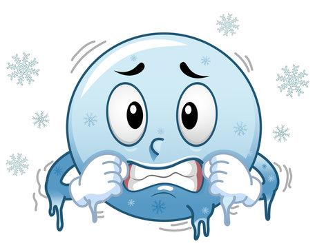 Smiley Mascot Freezing Illustration