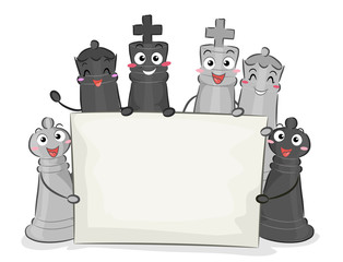 Chess Pieces Mascots Board Illustration