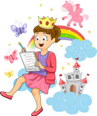 Kid Girl Fairy Tale Story Writing Illustration