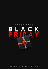 Black Friday sale, banner, poster advert. Card offert promotion design. Background black gift box with red bow.