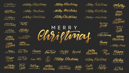 Merry Christmas and Happy New Year, golden text calligraphy.