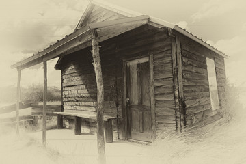 Old Cabin in the Tumbleweeds