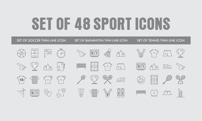 Set of Sport Icons Include Soccer, Badminton and Tennis For Website, Application, Mobile App, Software, Etc in Mono Line, Thin Line Flat Trendy Style Isolated in Grey Background