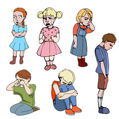 Sad children, kids. Boys and girls. Vector outlined illustration. Colored image, white background.
