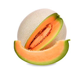 whole and slice of japanese melons, orange melon or cantaloupe melon with seeds isolated on white background