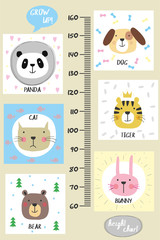 Kids height chart.Cute and funny animals