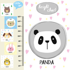 Kids height chart.Cute panda and funny animals