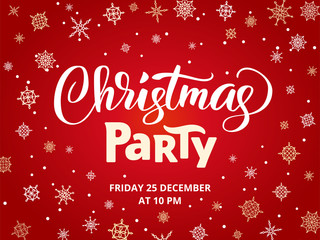 Christmas party poster template, vector illustration. Hand written lettering, typography. Background with falling snowflakes