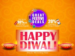 Decorated Diya on Happy Diwali night celebrating holiday of India with festive deal background