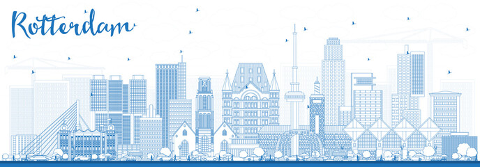 Canvas Prints Rotterdam Outline Rotterdam Netherlands Skyline with Blue Buildings.