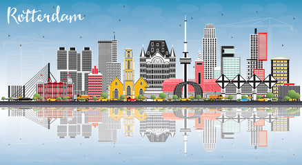 Wall Murals Rotterdam Rotterdam Netherlands Skyline with Gray Buildings, Blue Sky and Reflections.