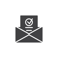 Newsletter in envelope icon vector, filled flat sign, solid pictogram isolated on white. Symbol, logo illustration.