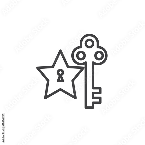 Star And Key Line Icon Outline Vector Sign Linear Style Pictogram