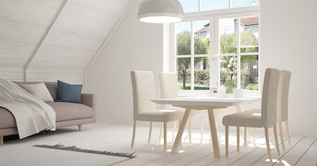 Idea of white kitchen with summer landscape in window. Scandinavian interior design. 3D illustration