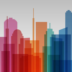 Colorful transparent cityscape background, modern architecture