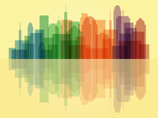 Colorful transparent cityscape background